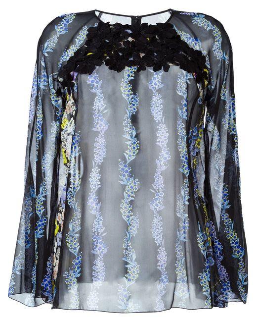 GIAMBA | Женская Чёрная Прозрачная Блузка С Цветочным Принтом
