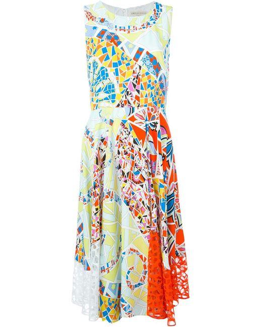 Emilio Pucci | Женское Синее Расклешенное Платье С Принтом