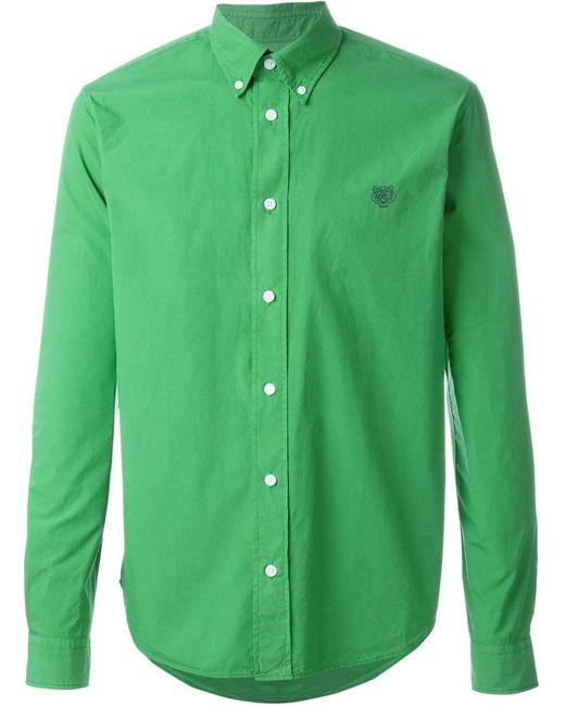 Kenzo | Мужская Зелёная Рубашка Tiger