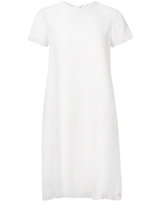 ASTRAET | Женское Белое Платье Шифт С Необработанными Краями