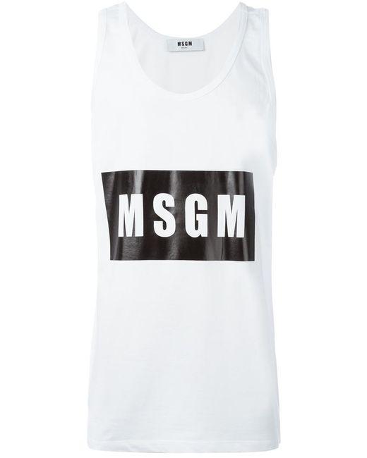 MSGM | Мужская Белая Майка С Принтом Логотипа