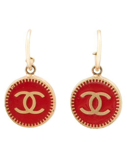 Chanel Vintage   Женские Серебристые Серьги-Подвески С Логотипом