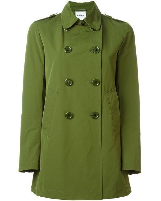 Aspesi | Женское Зелёное Короткое Двубортное Пальто