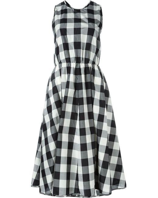 Rochas   Женское Чёрное Расклешенное Платье В Клетку