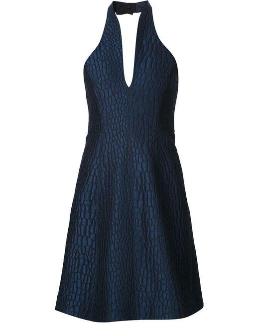 Halston Heritage | Женское Синее Фактурное Платье С Вырезом-Халтер