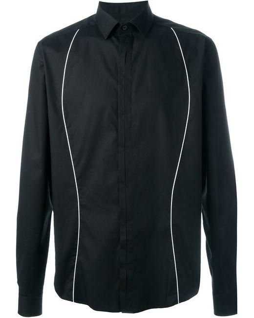 Les Hommes | Мужская Чёрная Рубашка С Контрастными Полосками