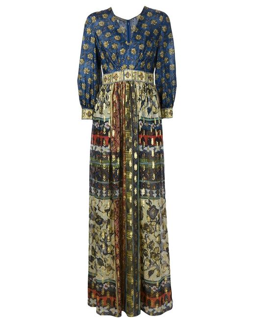 Alberta Ferretti | Женское Синее Длинное Платье С V-Образным Вырезом