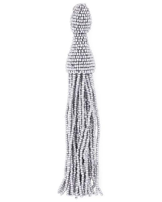 Oscar de la Renta   Женское Серебристый Bead Tassel Earrings