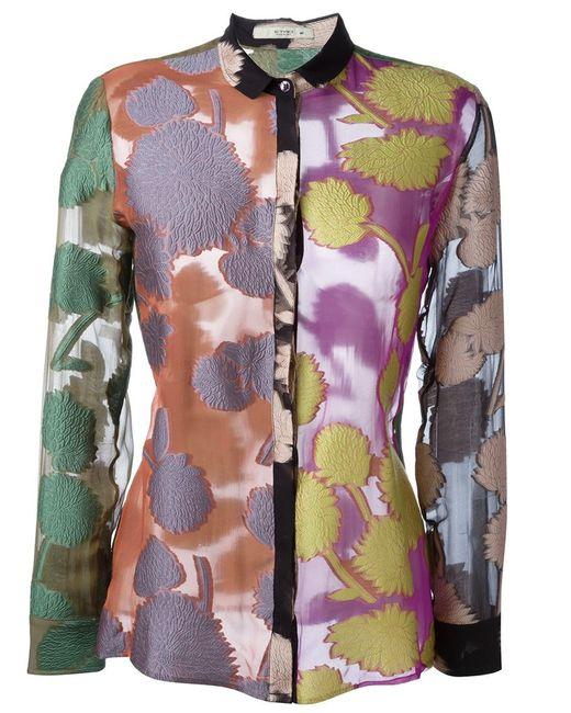 Etro | Женская Многоцветная Парчовая Рубашка С Цветочным Узором