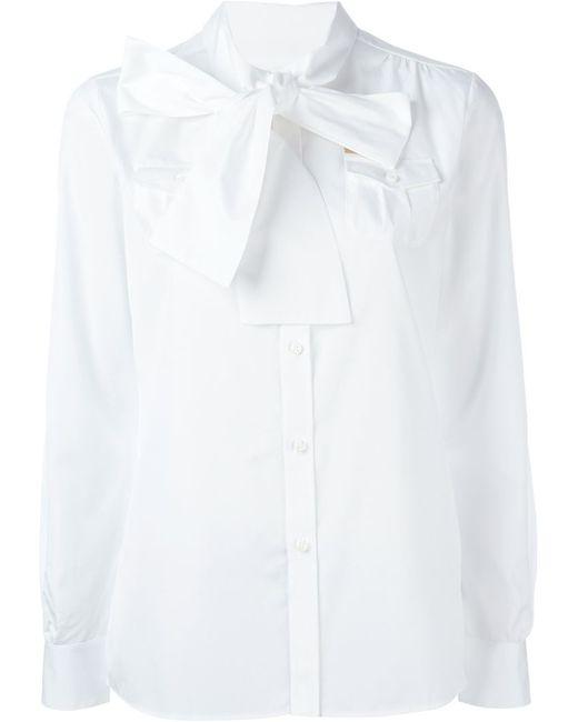 Dsquared2 | Женская Белая Рубашка С Бантом На Шее