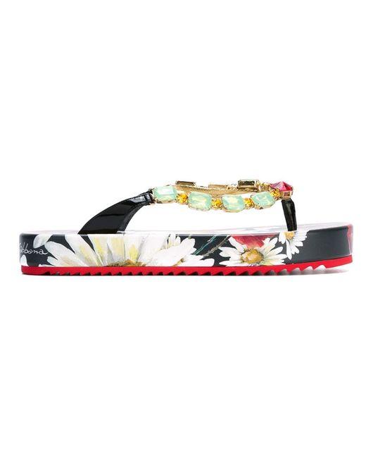 Dolce & Gabbana | Женские Многоцветные Декорированные Вьетнамки На Платформе