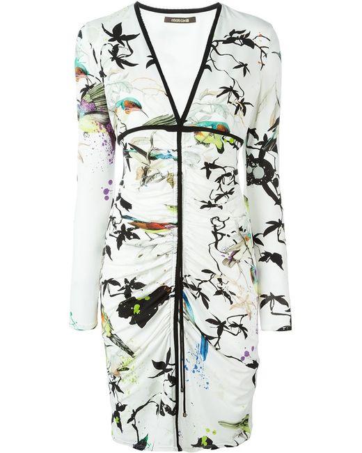 Roberto Cavalli | Женское Белый Bird Print V-Neck Dress