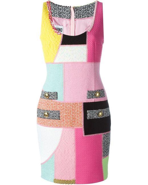Moschino | Женское Многоцветное Платье С Панельным Дизайном