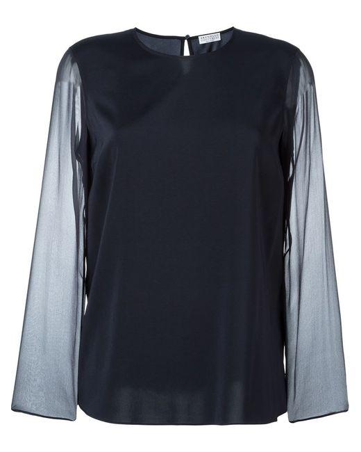 Brunello Cucinelli | Женская Синяя Блузка С Прозрачными Рукавами