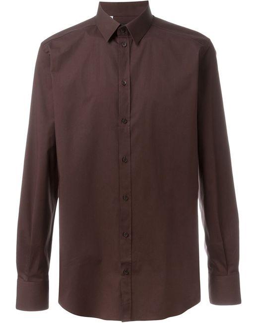 Dolce & Gabbana   Мужская Коричневая Классическая Рубашка