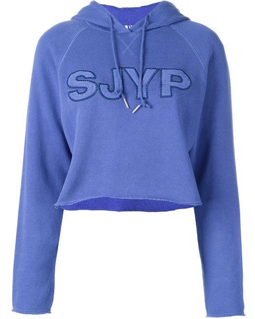 Steve J & Yoni P | Женская Синяя Укороченная Толстовка С Логотипом