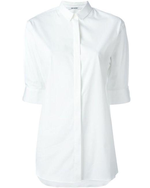 Neil Barrett | Женская Белая Рубашка С Засученными Рукавами