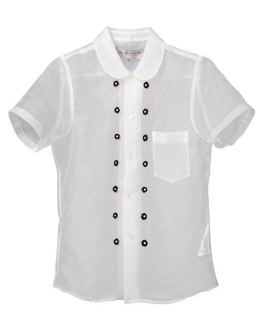 Comme Des Garcons | Женская Белая Прозрачная Блузка С Пуговичной Отделкой