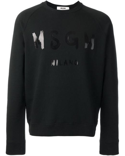 MSGM | Мужская Чёрная Толстовка С Принтом Логотипа