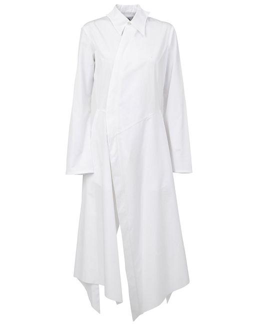 AGANOVICH   Женское Белое Платье-Рубашка Асимметричного Кроя