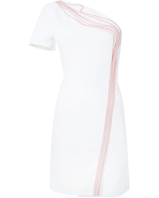 Mugler | Женское Белое Платье На Одно Плечо