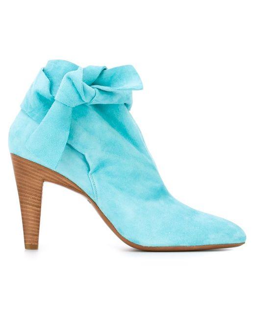 Roberto Cavalli | Женские Синие Ботинки С Бантом