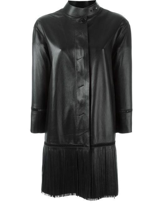 Ermanno Scervino   Женское Чёрное Пальто С Бахромой