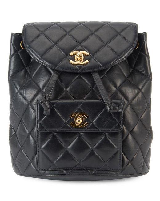 Chanel Vintage | Женский Чёрный Стеганый Рюкзак С Цепочной Отделкой