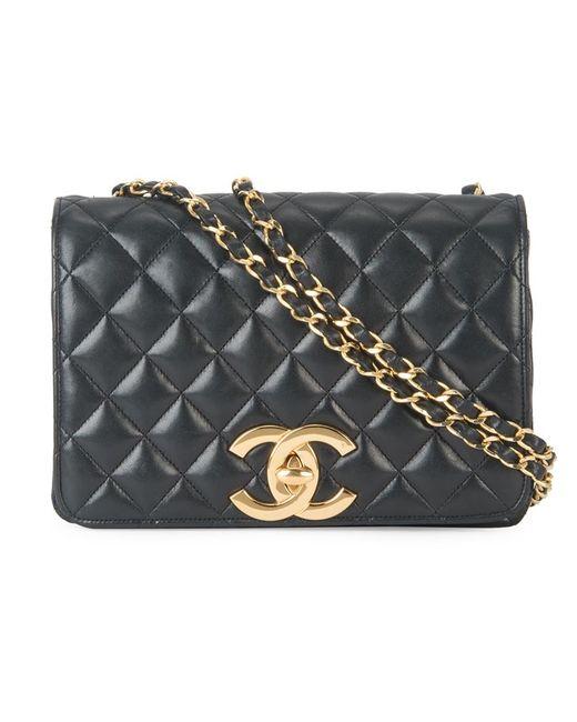 Chanel Vintage | Женская Чёрная Стеганая Сумка На Плечо