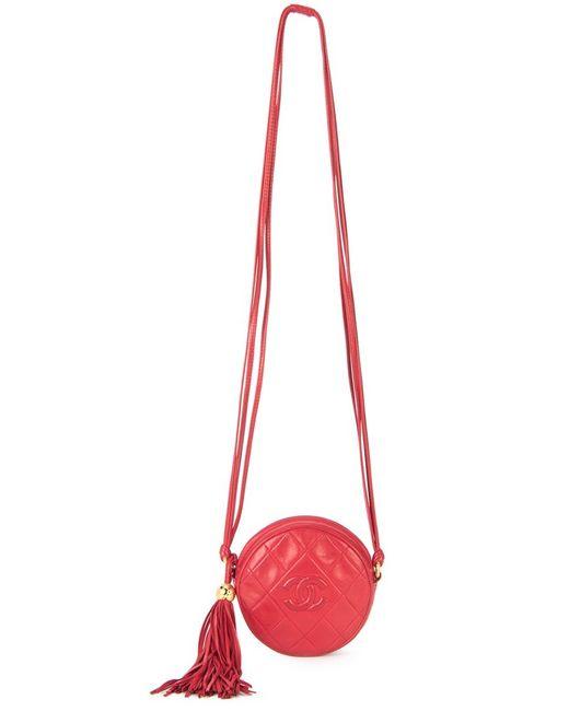 Chanel Vintage | Женская Красная Стеганая Сумка На Плечо С Кисточкой
