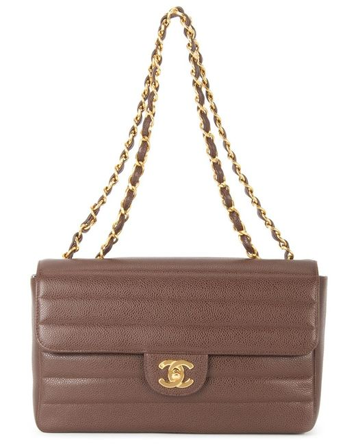 Chanel Vintage | Женская Коричневая Стеганая Сумка На Плечо С Цепочной Отделкой