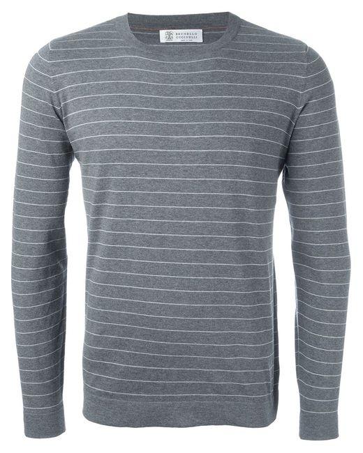 Brunello Cucinelli   Мужское Серый Striped Sweater