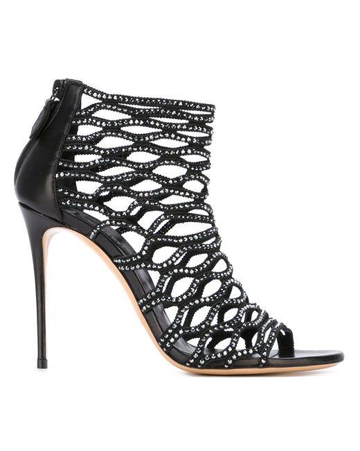 Casadei   Женское Чёрный Embellished Cut-Out Booties