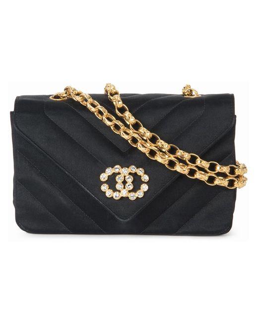 Chanel Vintage | Женская Чёрная Сумка На Плечо С Цепочной Отделкой