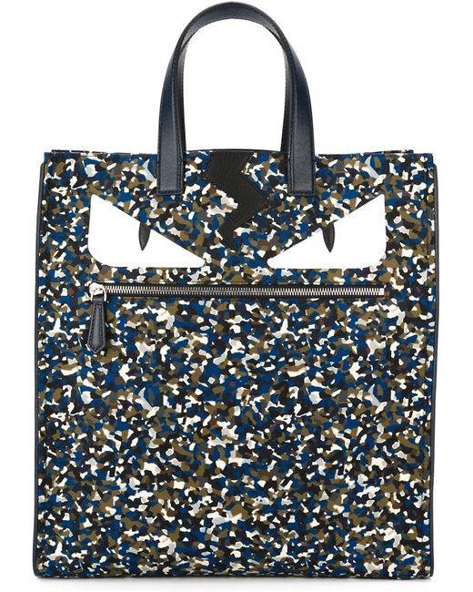 Fendi | Мужская Синяя Сумка-Шоппер Bag Bugs