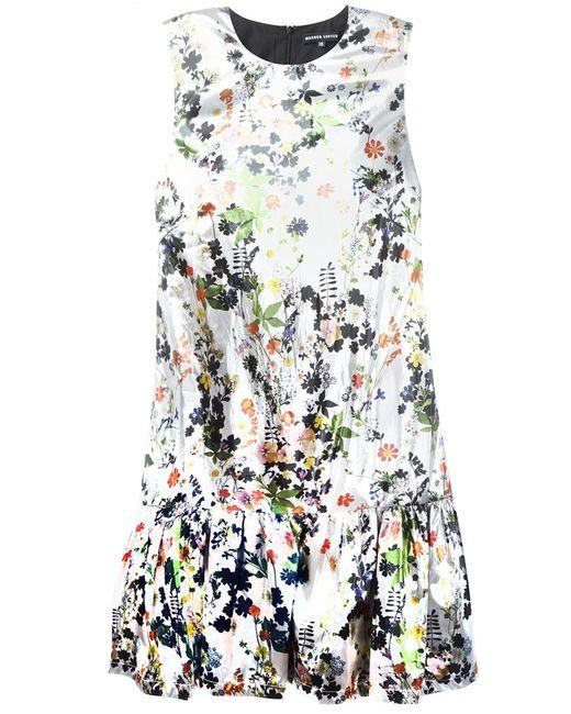 Markus Lupfer   Женское Серебристое Платье С Цветочным Принтом
