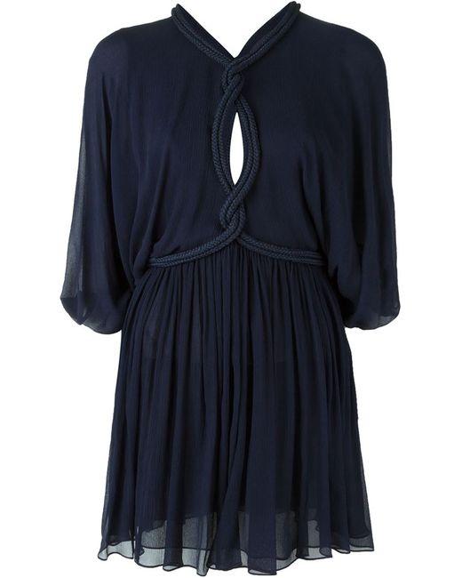 Jay Ahr | Женское Синее Мини-Платье С Веревочной Отделкой