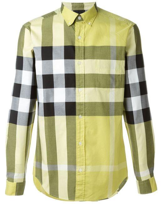 Burberry Brit | Мужская Жёлтая Рубашка В Клетку