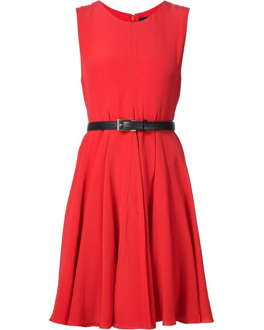 Vera Wang   Женское Красное Платье Без Рукавов С Поясом