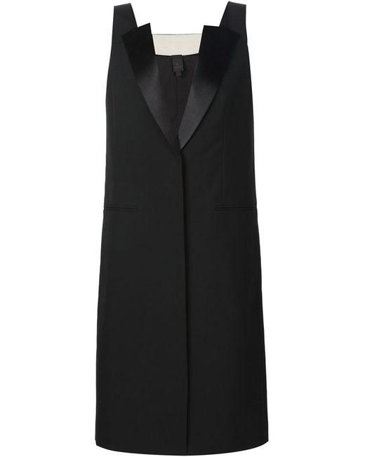 Vera Wang | Женское Чёрное Однобортное Пальто Без Рукавов