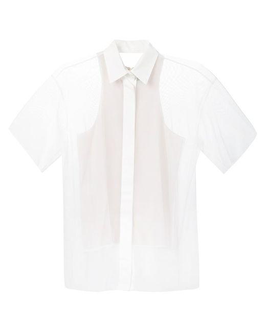 Vera Wang | Женская Белая Прозрачная Рубашка С Рукавами По Локоть