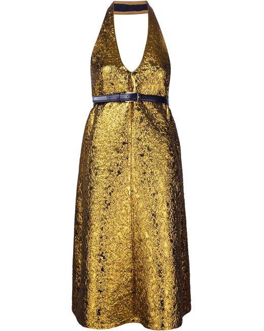 Vera Wang | Женское Серебристое Жаккардовое Платье С Отделкой Металлик