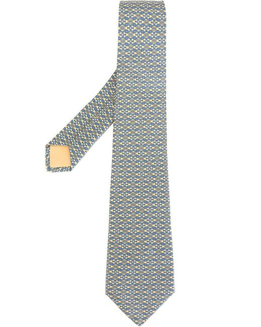 Hermès Vintage   Мужской Многоцветный Галстук С Волнистым Узором