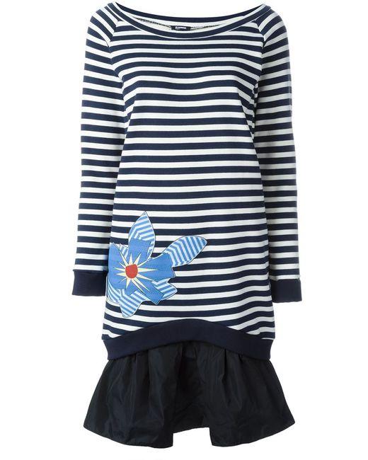 Jil Sander Navy | Женское Синее Расклешенное Платье В Полоску