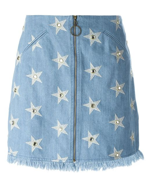 Manoush | Женское Синий Start Print Denim Skirt