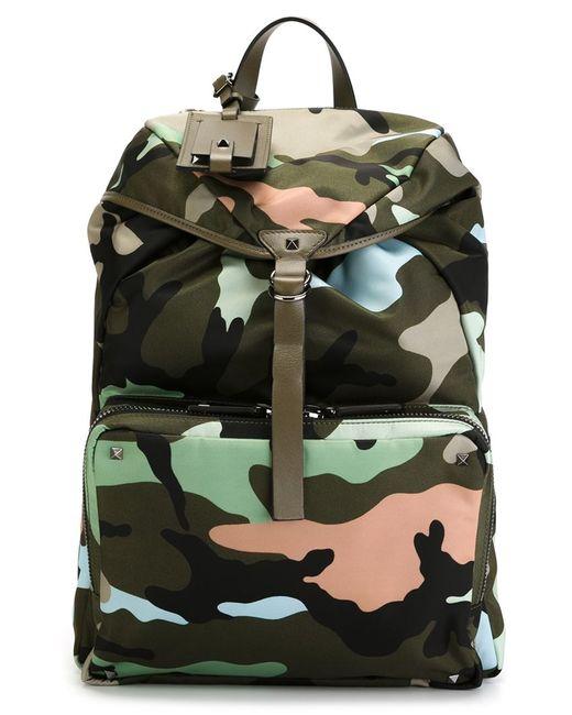 Valentino Garavani   Мужское Зелёный Camouflage Backpack