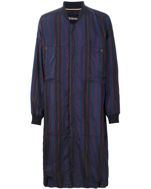 UMA WANG | Мужское Синий Striped Zip Coat