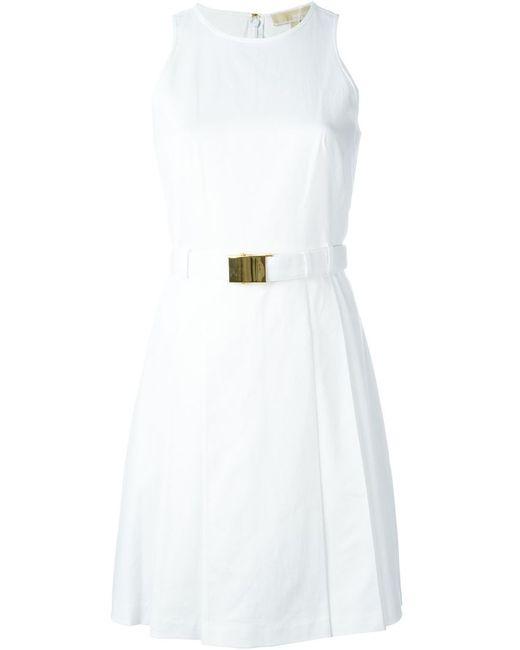 Michael Michael Kors | Женское Белое Расклешенное Платье С Поясом