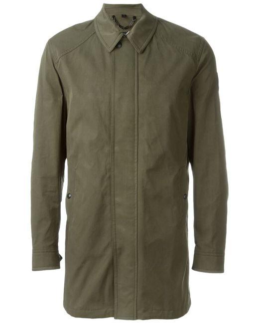 Belstaff | Мужское Зелёное Однобортное Пальто