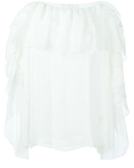 Chloe | Женское Белый Silk Ruffle Blouse